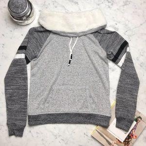 Inspired Hearts Fur Marled Grey Long Sleeve Shirt
